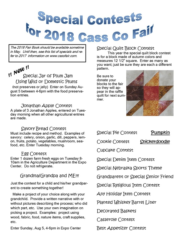 2018 Fair Special Contests2