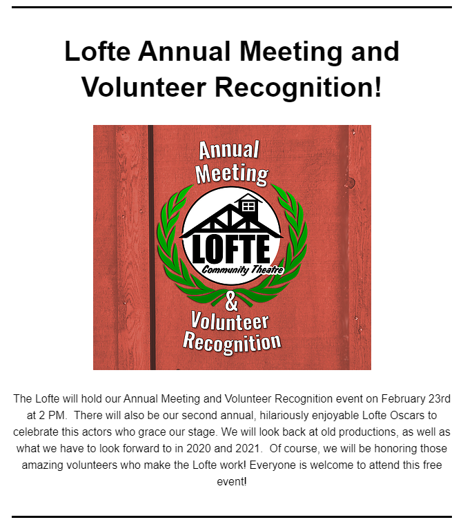 Lofte Volunteers event