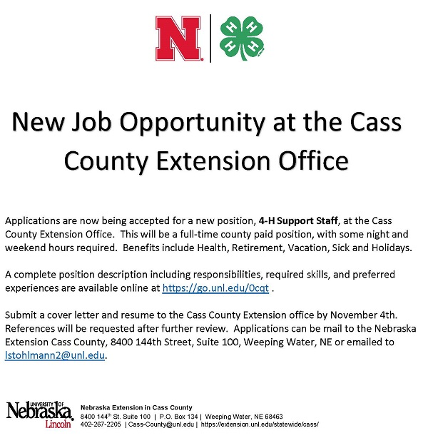 4H Support Staff Position
